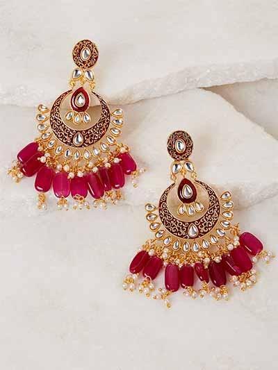 Red Kundan and Meena Studded Brass Earrings