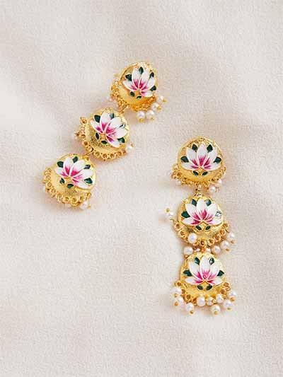 Gold-Toned Mauve Brass Meenakari Dangle Earrings