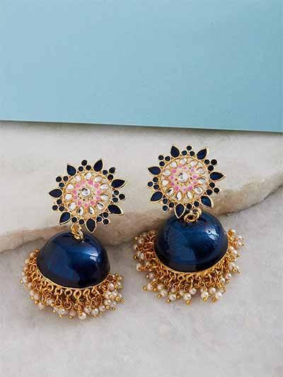 Blue Kundan Studded Meenakari Brass Jhumkas