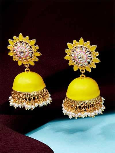 Yellow Kundan Studded Meenakari Brass Jhumkas