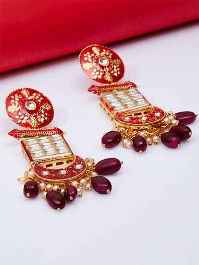 Gold-Toned Red Meenakari Brass Dangle Earrings