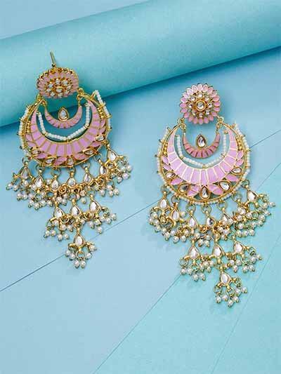 Pink Kundan Studded Brass Dangle Earrings