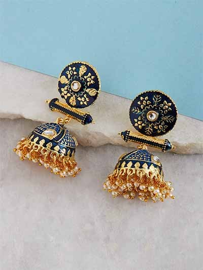 Gold-Toned Blue Meenakari Brass Jhumkas