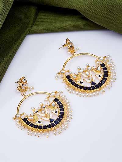 Gold-Toned Blue Kundan & Meena Studded Brass Earrings