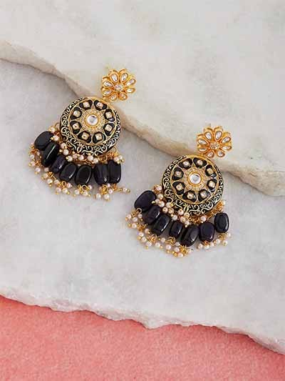 Gold-Toned Black Meenakari Brass Earrings