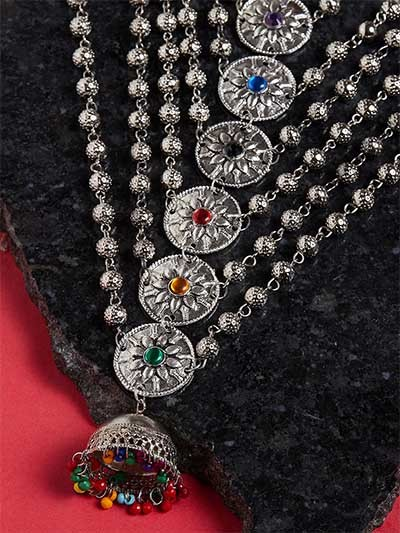 Silver Plated & Multicolored Stone-Studded Statement Necklace