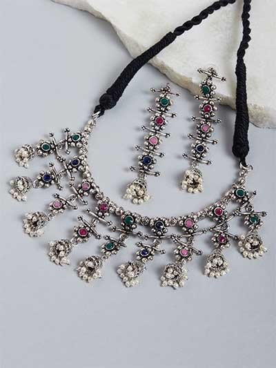 Silver-Toned & Multicolored Stone-Studded Statement Necklace