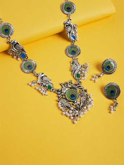Peacock Silver Plated German Silver Necklace Set