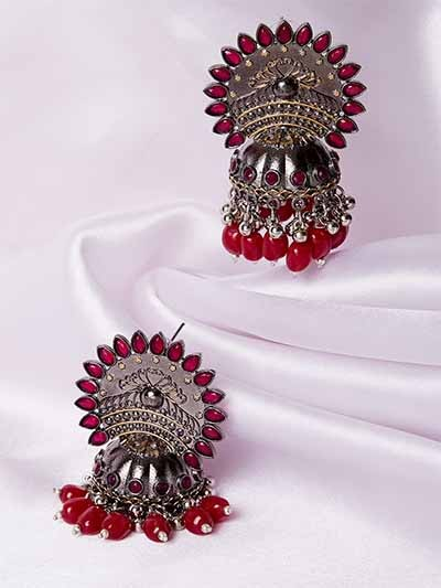 Silver-Plated Pink Gemstones Studded Tribal Jhumkas