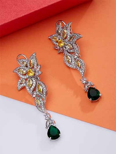 Green & Yellow American Diamond Earrings With Silver Plating