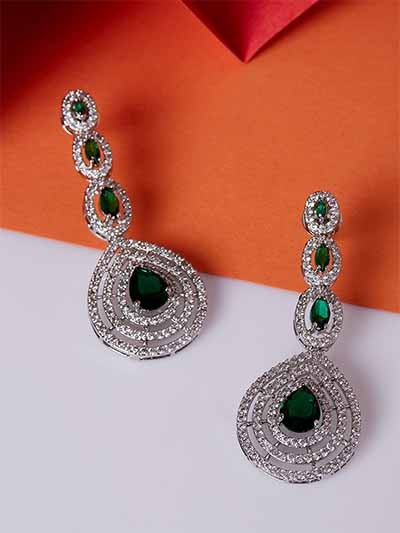Silver Plated Gemstones Studded American Diamond Earrings