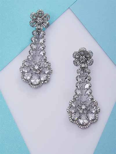 Silver-Plated American Diamond Dangle Earrings