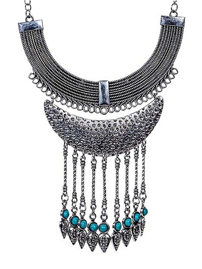 Silver Multi Layer Collar Tassel Fashion Necklace