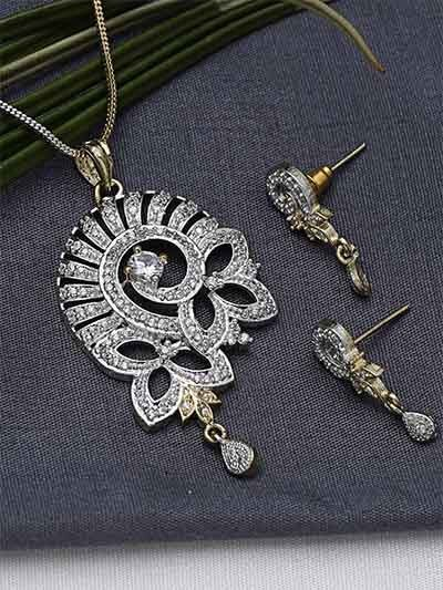 American Diamond Floral Pendant Necklace Set