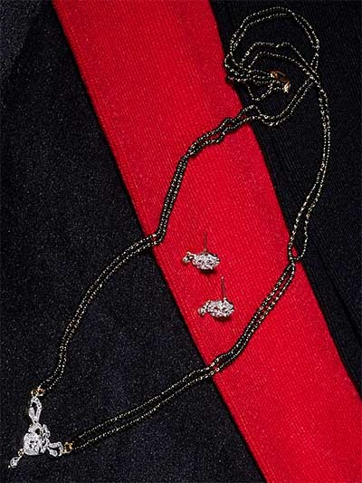 American Diamond Mangalsutra with Short Flower Pendant and Earrings