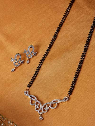 American Diamond Mangalsutra with Classic Sleek Pendant and Earrings