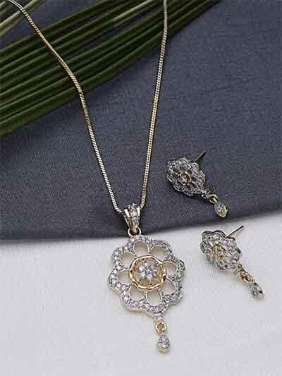 American Diamond Classic Floral Pendant Necklace Set