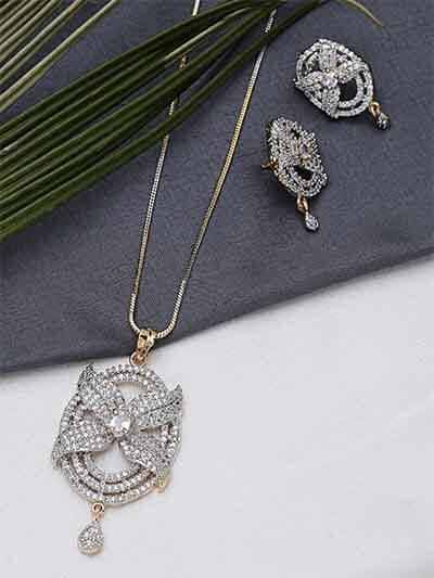American Diamond Chunky Floral Pendant Necklace Set