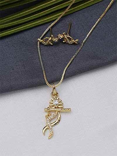 American Diamond Deity Pendant Necklace Set