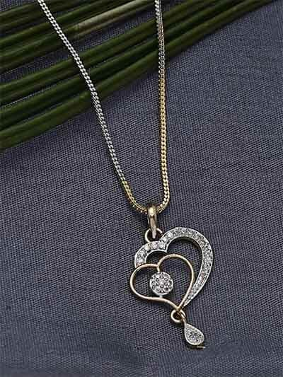 American Diamond Necklace with Heart Pendant