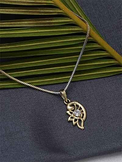 American Diamond Necklace with Flower Pendant