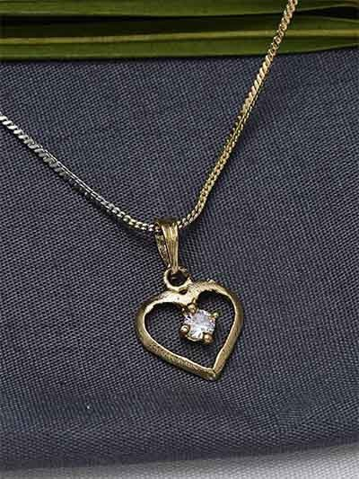 American Diamond Necklace with Small Heart Pendant