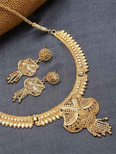 Designer Golden Ethnic Necklace Set