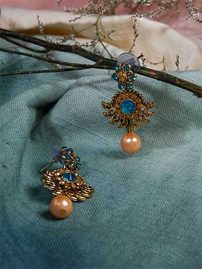 Short Golden and Blue Ethnic Earrings With Rose Gold Pearl