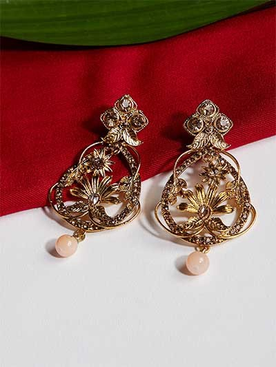 Designer Golden Floral Ethnic Dangle Earrings