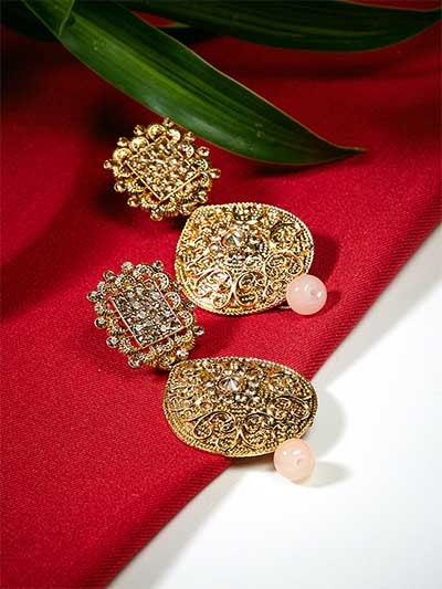 Golden Drop Ethnic Earrings Embellished With Designer Motifs