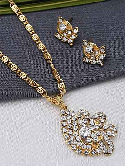 Classic Golden Floral Pendant Necklace Set