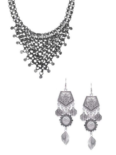 Mesh Shaped Tribal Necklace and Geometrical Tribal Earrings With Hanging Leaves Combo