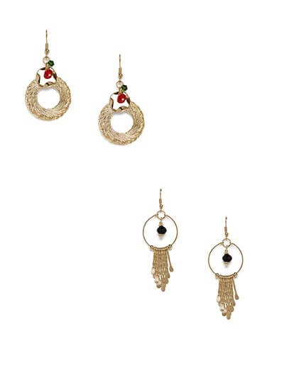 Combo of Two Golden Western Earrings