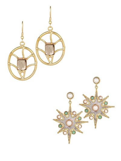 Combo of Golden Hoop and Star Brass Earrings