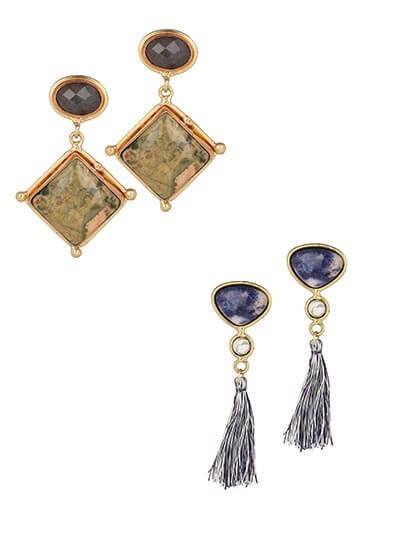 Combo of Brown and Blue Brass Earrings Encrusted with Semi-precious Stones