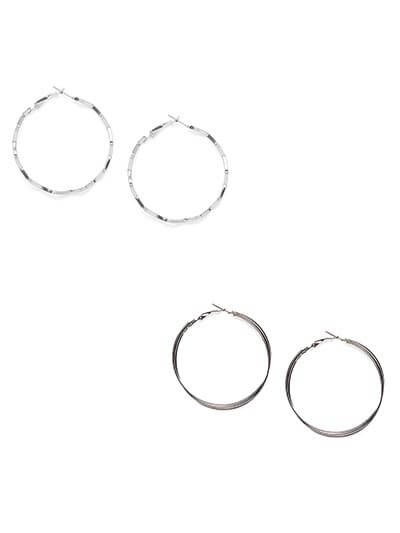 Combo of Silver Zig Zag and Silver Multilayered Hoop Earrings
