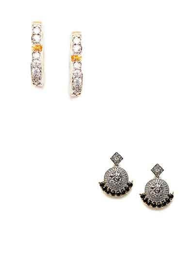 Combo of American Diamond Floral Dangle and Latch-back Earrings