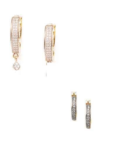 Combo of American Diamond Latch-back Stud Earrings