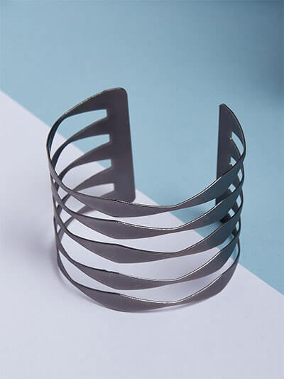 Contemporary Black Cuff Bracelet