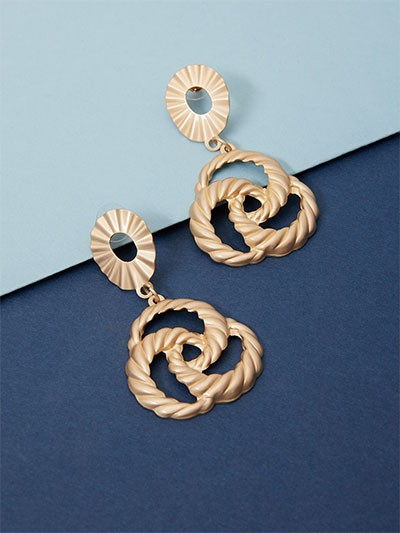 Golden Floral Dangle Earrings With Matte Finish