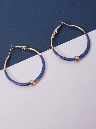 Golden and Blue Hoop Earrings