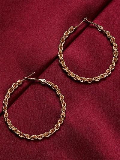 Golden Chain-Knot Hoop Earrings