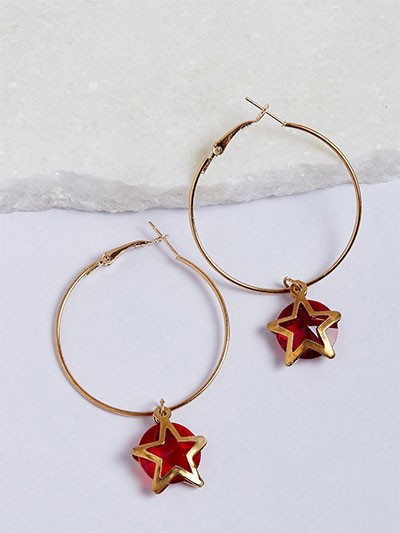 Golden and Red Star Hoop Earrings