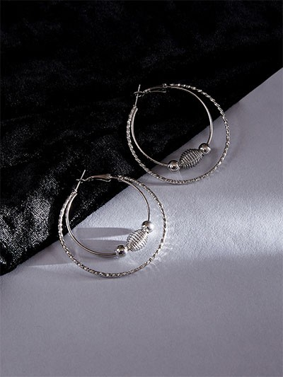 Beaded Silver Hoop Earrings