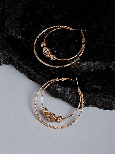 Beaded Golden Hoop Earrings
