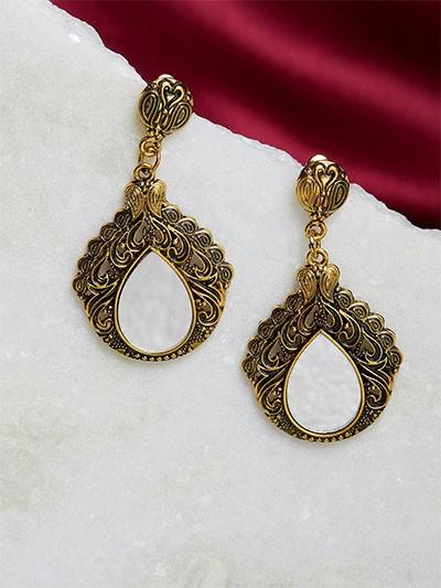 Golden Mirror Dangle Earrings