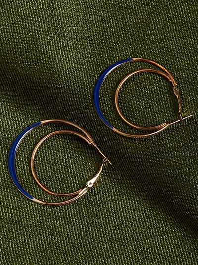 Golden and Blue Multi Hoops Earrings