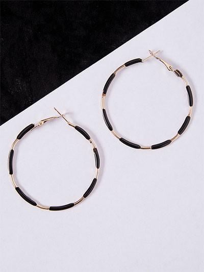 Designer Golden and Black Hoop Earrings