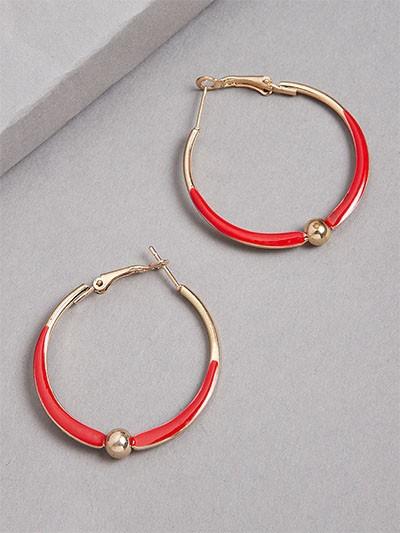 Golden and Red Hoop Earrings