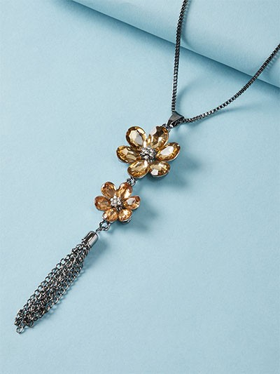 Golden and Silver Flower Contemporary Necklace
